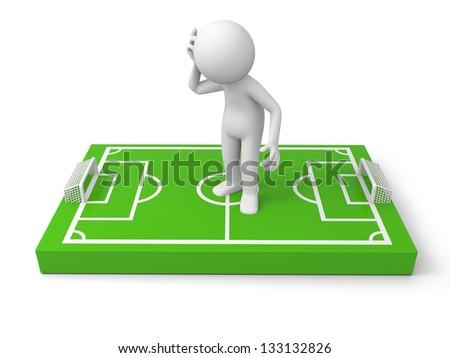 A 3d man thinking on a football field model - stock photo