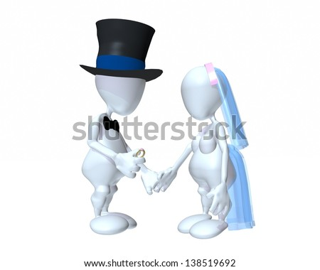A 3d man traditional couple getting married - stock photo