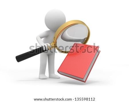 A 3d man watching a book with a magnifying glass - stock photo