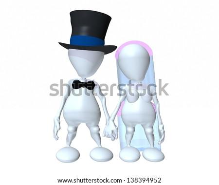A 3d man wedding couple - stock photo