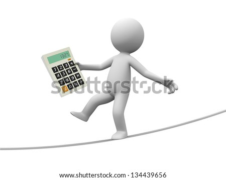 A 3d man with a calculator walking on the wire - stock photo