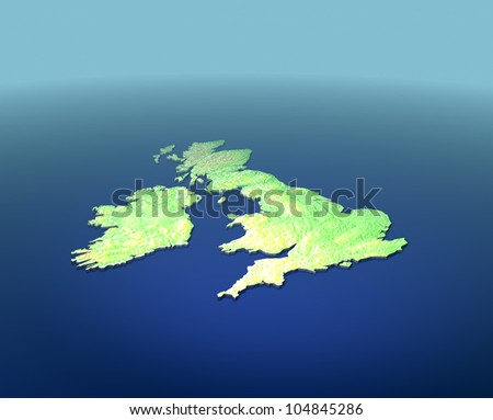 A 3D map of United Kingdom on blue surface with contours - stock photo