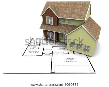 A 3D model of a new house set on some architectural plans.