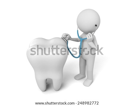 A 3d people have a physical examination for a big tooth. 3d image. Isolated white background. - stock photo