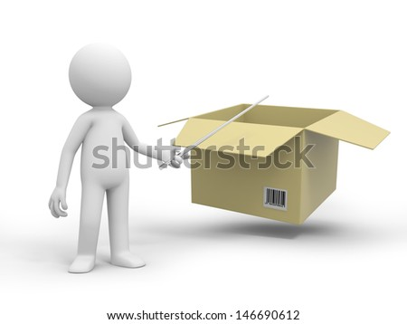 A 3d people pointing at a package box with a stick - stock photo