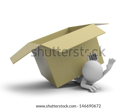 A 3d people pressed by a package box - stock photo