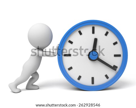 A 3d people push a big clock. 3d image. Isolated white background - stock photo
