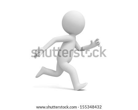 A 3d people running isolated white background - stock photo