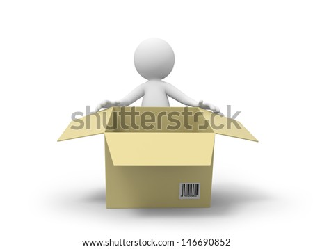 A 3d people standing behind a package box - stock photo