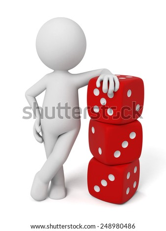 A 3d people standing with some dice. 3d image. Isolated white background - stock photo