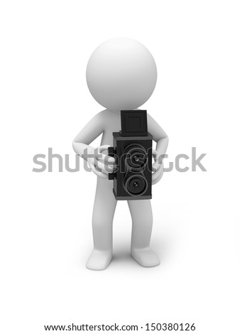 A 3d people taking a picture with a vintage camera