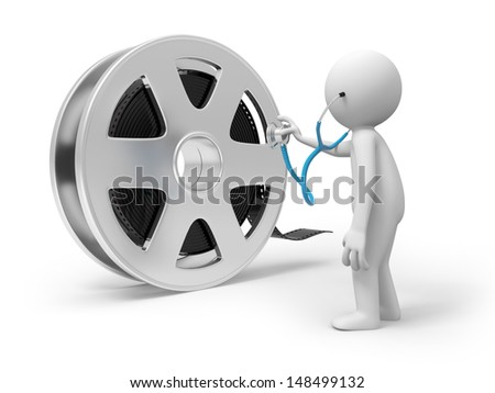 A 3d people watching the film with the stethoscope