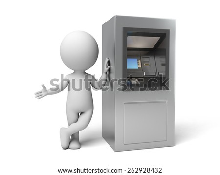 A 3d people with a ATM. 3d image. Isolated white background - stock photo