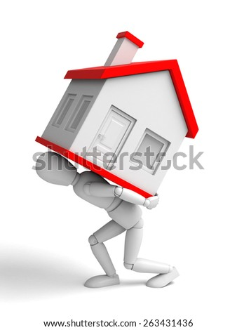 A 3d people with a big house. 3d image. Isolated white background - stock photo