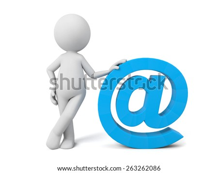 A 3d people with a email symbol. 3d image. Isolated white background - stock photo