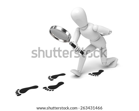 A 3d people with a magnifier. 3d image. Isolated white background. - stock photo