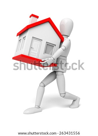 A 3d people with a  new house. 3d image. Isolated white background