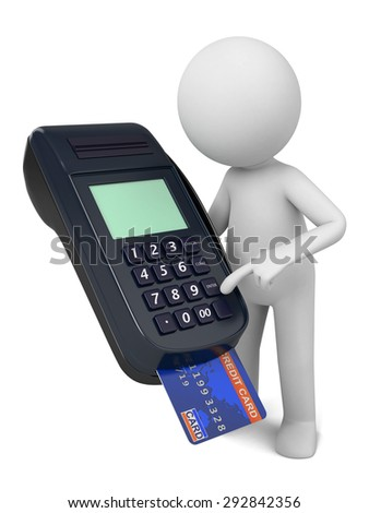 A 3d people with a POS Terminal.3d image. Isolated white background