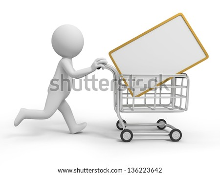 A 3d person/a message board in the shopping cart - stock photo