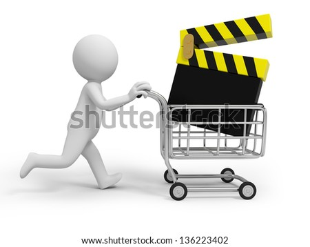 A 3d person/ a slate in the shopping cart - stock photo