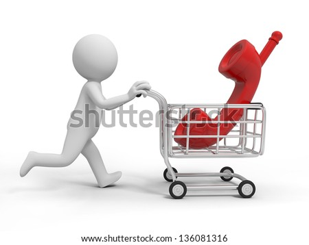 A 3d person/a telephone  in the shopping cart - stock photo