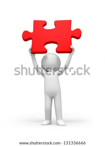 A 3d person holding a red  puzzle