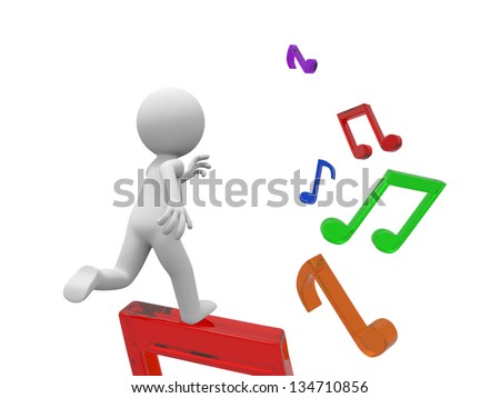 A 3d person running along the note steps - stock photo