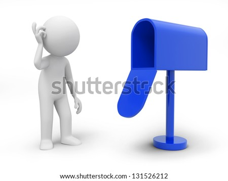 A 3d person standing at a mail box - stock photo