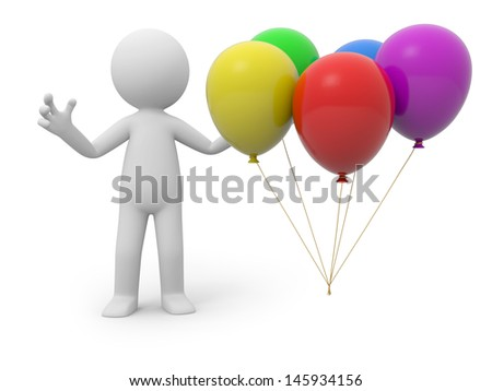 A 3d person standing at five balloons - stock photo