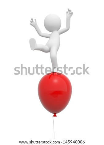 A 3d person standing on a red balloon - stock photo