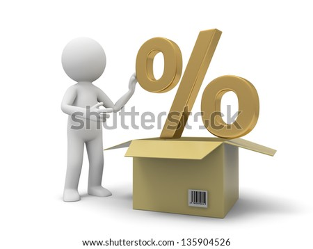 A 3d person taking a percent symbol from a box