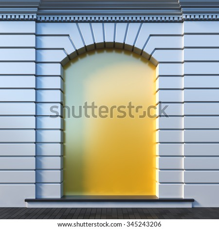 A 3d render illustration blank template layout of clear niche at a wall. Niche surface empty to place poster, image, picture, text or logo. - stock photo