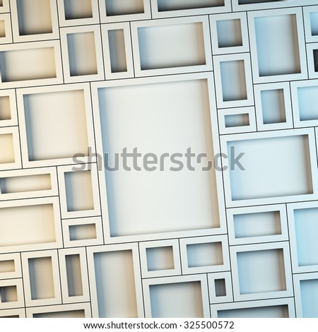 A 3d render illustration blank template layout of white empty frames at wall. - stock photo