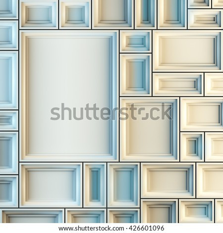 A 3d render illustration blank template layout of white empty frames at wall. Copy space to place your photo, picture or logo. - stock photo