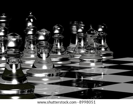 A 3d render of a black and white chess board