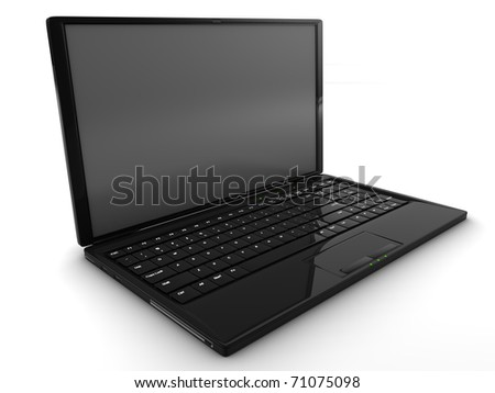 A 3D render of a black laptop isolated on white - stock photo