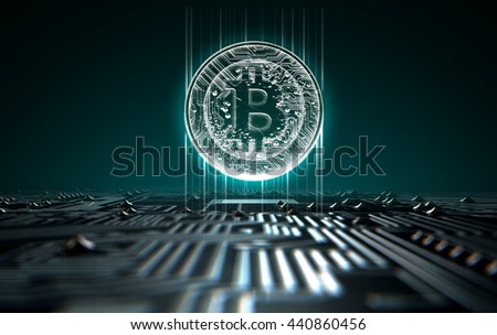 A 3D render of a macro view of a circuit board with a digital bitcoin projecting above it on a dark background - stock photo