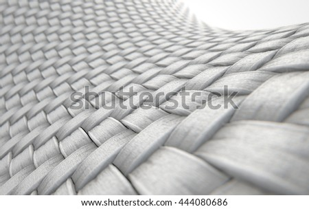 A 3D render of a microscopic view of a simple woven textile on a white background