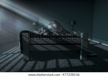A 3D render of a person sleeping under the covers of a bed with bright moonlight illuminating through blinds and a cellphone charging on a bed side table
