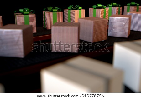 A 3D render of a production line of christmas gift boxes in varying stages of wrapping on conveyor belts on isolated dark backgrounds