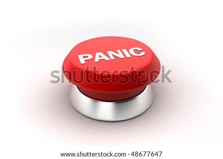 A 3d render of a red panic button. - stock photo