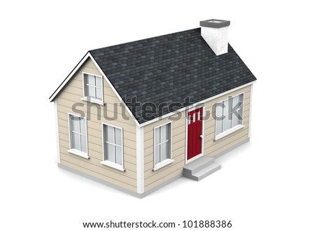 A 3d render of a small house on a white background