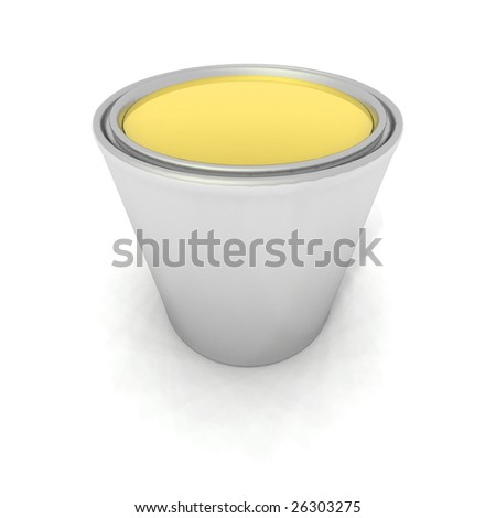 a 3d render of a yellow paint can