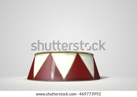 A 3D render of an empty ringmasters podium on an isolated white studio background