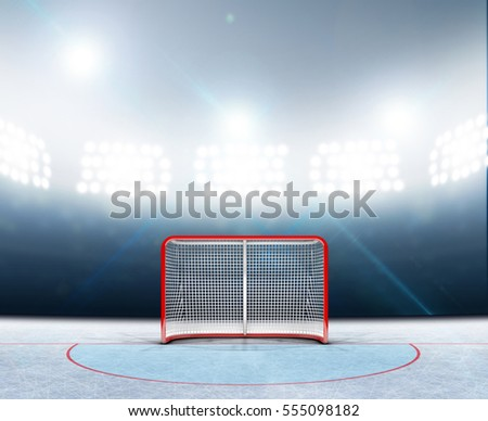A 3D render of an ice hockey rink stadium with a red goal under illuminated floodlights