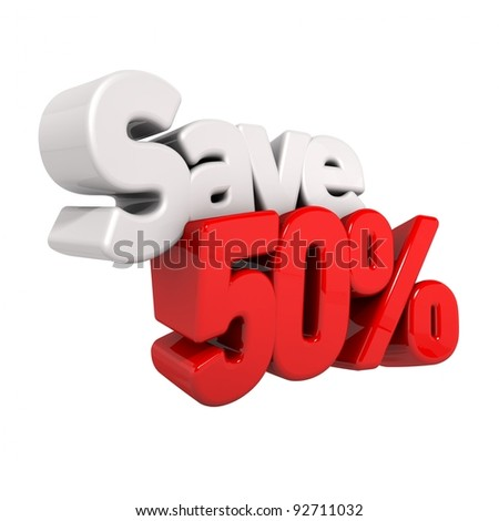 A 3d render of fifty percent price reduction and save in text and numbers angled obliquely isolated on white - stock photo