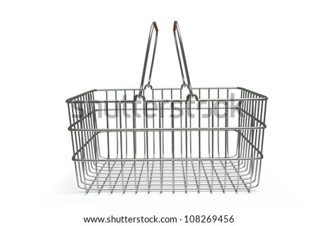 a 3d render of supermarket basket isolated on white - stock photo