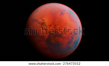 "A 3D render of the Red Planet Mars on a black background with realistic atmosphere. ""Some elements of this image provided by NASA."""