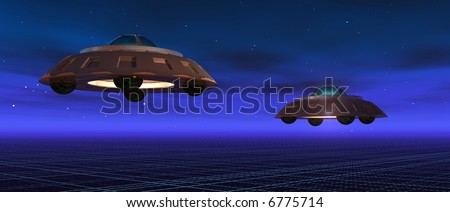 a 3d render of two flying saucers in a blue night - stock photo