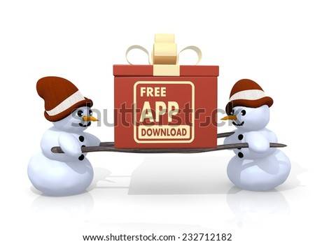 a 3d rendered gift with a free app download sign printed on it is carried by two happy snowman isolated on white background - stock photo